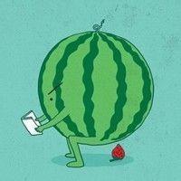 一些吃西瓜的卡通QQ头像图片