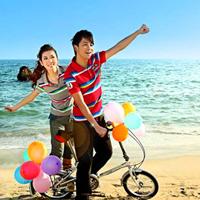 骑单车的情侣QQ头像,一张两人一男一女