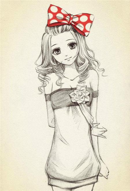 design 卡通人物素描画头像 qq头像大全  动漫人物铅笔画女生,铅笔画