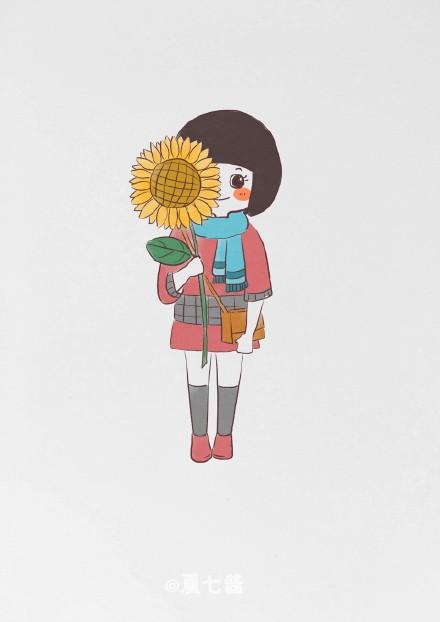 可爱的卡通波波头女生qq皮肤图片,夏七酱作品