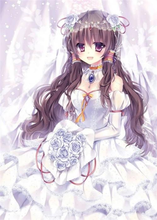 好看的动漫新娘图片穿婚纱