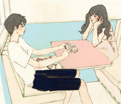 情侣插画图片手绘图片